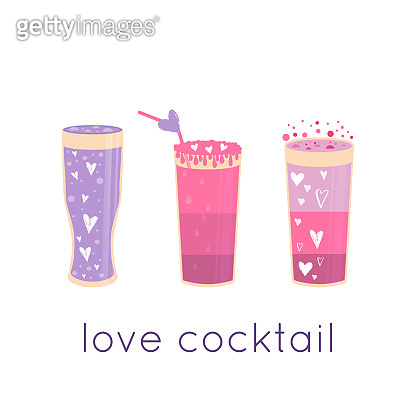 Lovely Valentines day gift card with different glasses of wine, sweet cocktail and hearts
