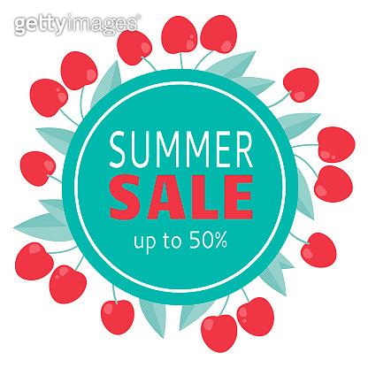 Summer tropical design with cherry. Sale banner design. Season sale vector label.