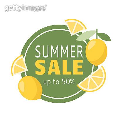 Summer sale banner up to 50 with lemon for decoration design.