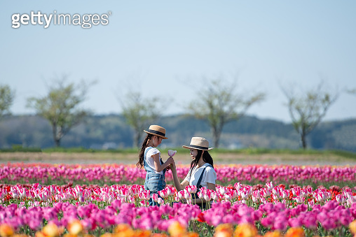 Mother and daughter handing a tulip