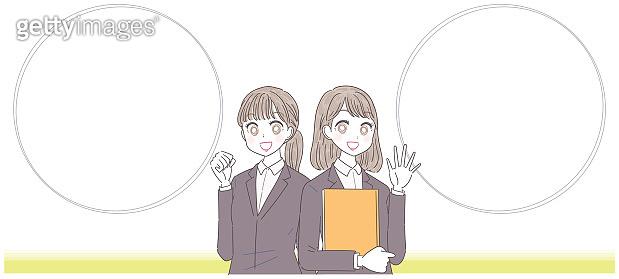 Two businesswomen and speech bubble
