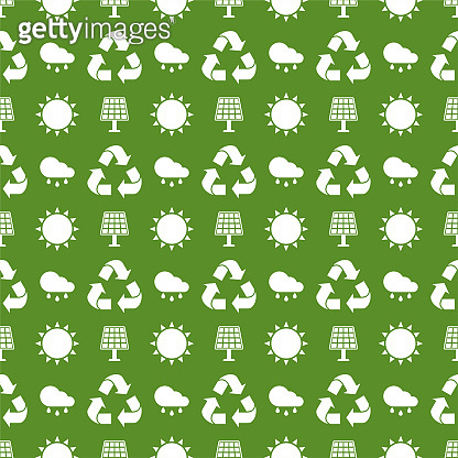 Seamless ecology pattern. Flat vector cartoon illustration.