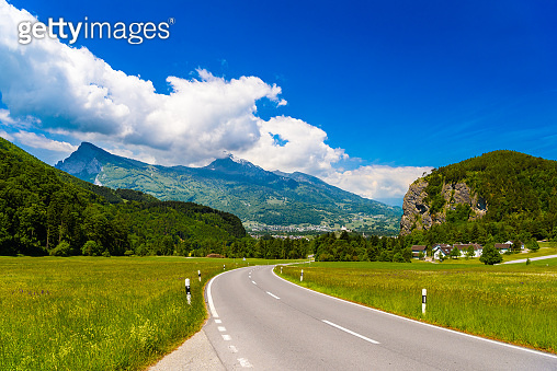 Road among Alps mountains, Vaduz, Oberland, Liechtenstein.