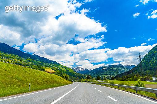 Road among Alps mountains, Klosters-Serneus, Davos,  Graubuenden