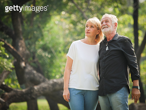 Couple retirement in garden happy mood