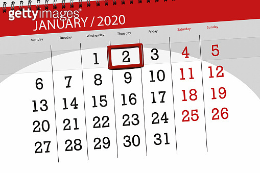 Calendar planner for the month january 2020, deadline day, 2, thursday
