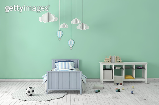 Kids room interior with blank wall