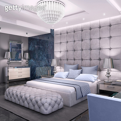 Luxury bedroom interior with marble wall