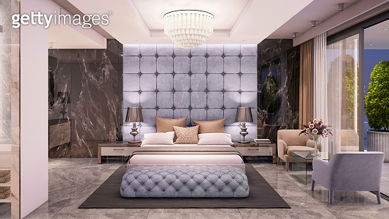 Luxury bedroom interior with large king side bed
