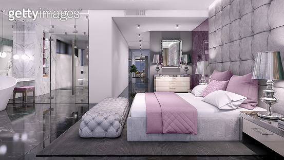 Luxury open plan bedroom interior with bathroom with glass wall