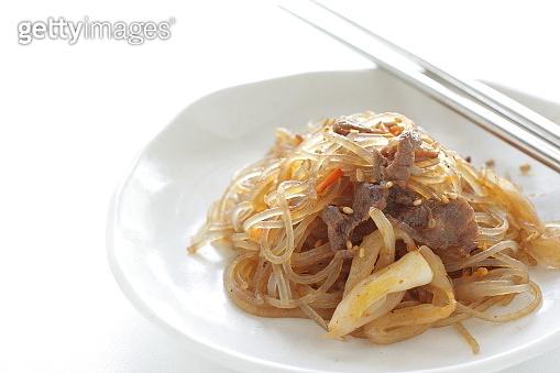 Korean food, beef and vegetable Japchae