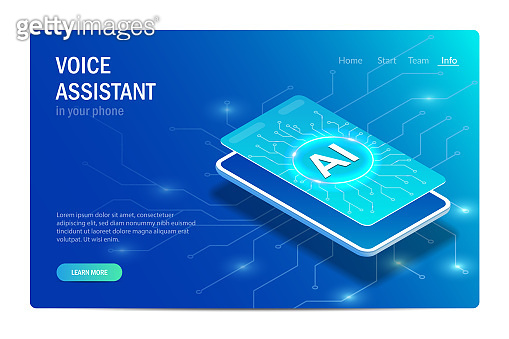 Voice assistant in your phone. Artificial Intelligence. Smart phone. Web page template. Isometric concept. Vector editable illustration in hi tech style.