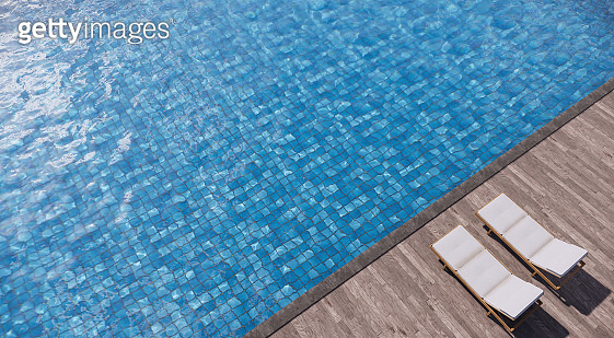 Two daybeds on wood deck side swimming pool. 3D illustration