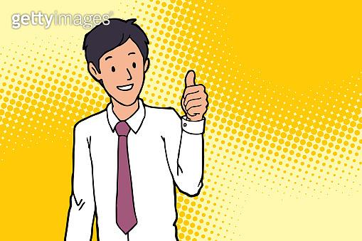 businessman making thumbs up sign, illustration vector