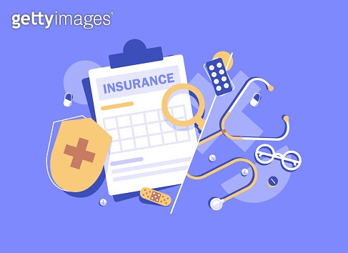 Health insurance concept banner,Medicine and healthcare flat design concept