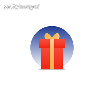 Congratulations gift box, perfect present, prize award icon