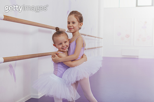 Adorable little ballerinas at dancing school