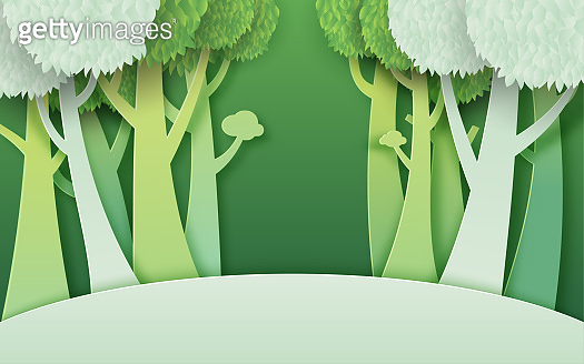 02.Green forest paper cut concept