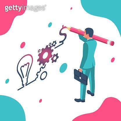 Businessman draws business strategy. Planning development of ideas.