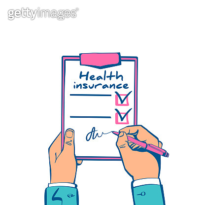 Health insurance claim form hold in hand.