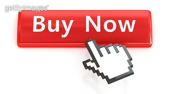 Buy Now. Red push button with click hand cursor isolated on the white background. Web design icon sets.