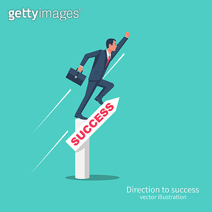 Direction to success. Businessman jumps up the arrow with inspiration.