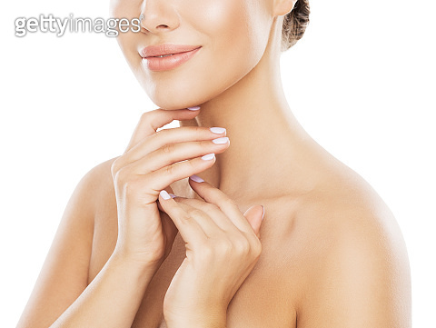 Beauty Natural Skin Care, Woman Touching Neck By Hand, Young Girl White Isolated