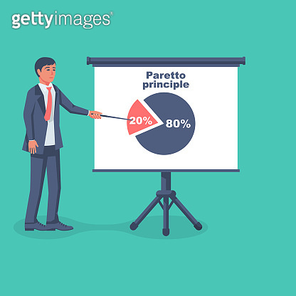Businessman shows on the board the principle of paretto