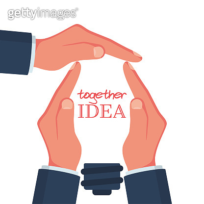 Together idea. Many hands gestures made the shape of a light bulb