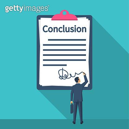 Businessman writes conclusion, report concept