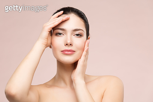 Woman Natural Beauty Makeup Portrait, Fashion Model Touching Face by Hands, Skin Care and Treatment
