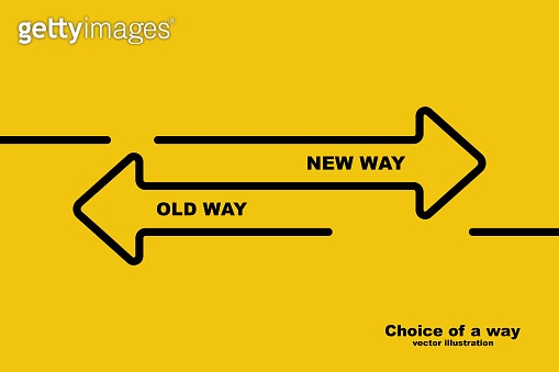 Choice of a way. Old road or new way.