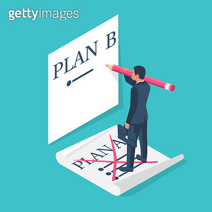 Plan A failed go to B. Businessman passes to second plan, isometric 3d