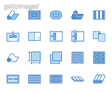 Carpet cleaning flat line icons set. Rug steaming, bamboo mat, persia carpets, flooring vector illustration. Thin signs for housekeeping service, interior store. Pixel perfect 64x64. Editable Strokes