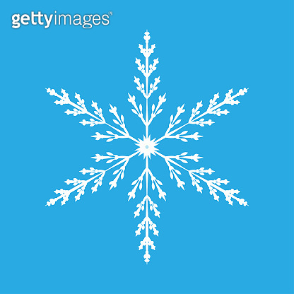 Snowflake isolated on blue background. Flat snow icon silhouette. New year theme.Vector illustration