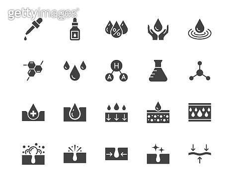 Skin care flat glyph icons set. Hyaluronic acid drop, serum, anti ageing compound retinol, pore tighten vector illustrations. Signs cosmetic product label. Silhouette pictogram pixel perfect 64x64