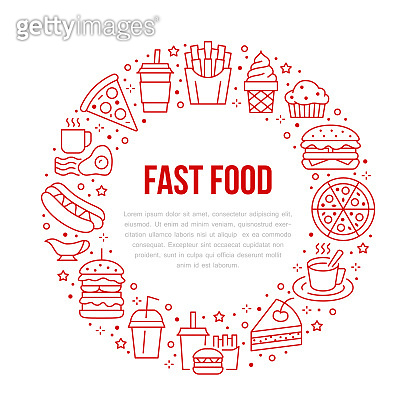 Fast food circle illustration with flat line icons. Thin vector signs for restaurant menu poster - burger, french fries, soda, cheesecake, coffee, pizza, hot dog, ice cream, muffin. Junk food concept