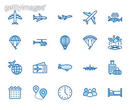 Aircraft flat line icons set. Airplane, helicopter, air taxi, skydiving, balloon, aero tube, paragliding vector illustration. Thin signs for plane tickets store. Pixel perfect 64x64. Editable Strokes