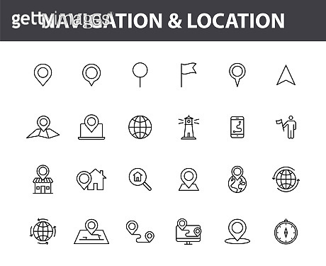 Set of 24 Navigation and location web icons in line style. GPS, compass, global, marker, map, pointer. Vector illustration.