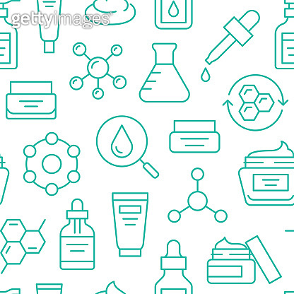 Skin care seamless pattern with line icons. Hyaluronic acid drop, serum, anti ageing compound retinol, moisturizing cream tube package, cosmetology treatment. Beauty background dermatology brochure