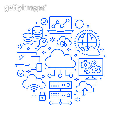 Cloud data storage circle poster with line icons. Database background, information, server center, global network, backup, security vector illustrations. Technology blue white template