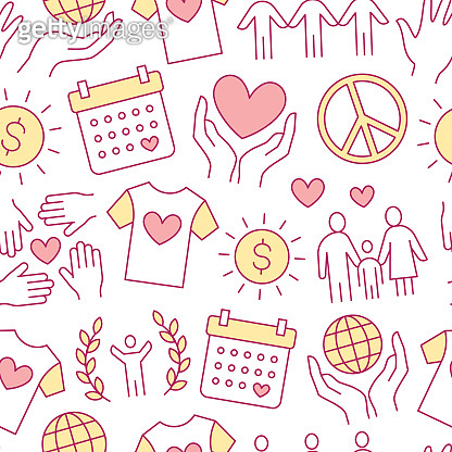Charity vector seamless pattern with flat line icons. Donation, nonprofit organization, NGO, giving help illustrations. Pink white color background, wallpaper for donating, volunteer community poster