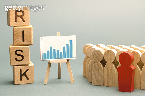 Wooden blocks with the word Risk and a team with a leader. Business concept of teamwork, crisis solution and problem management. Business planning. Investment in the project. Risk assessment. Forecast