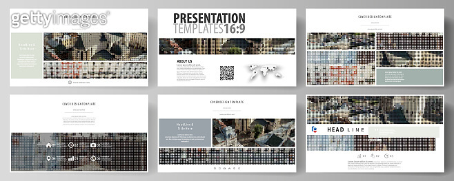 Business templates in HD format for presentation slides. Easy editable abstract vector layouts in flat design. Colorful background made of dotted texture for travel business, urban cityscape.