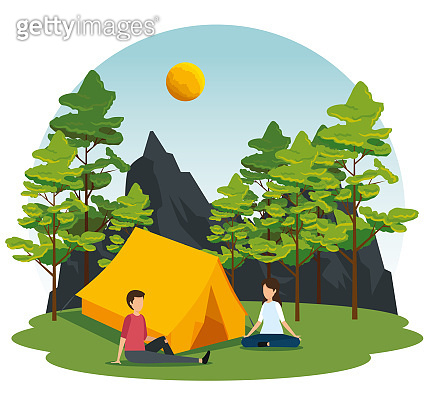 woman and man with camp in the nature landscape