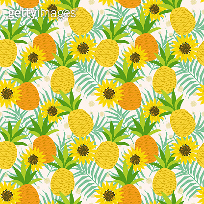 Pineapple and sunflower on leaves seamless pattern.