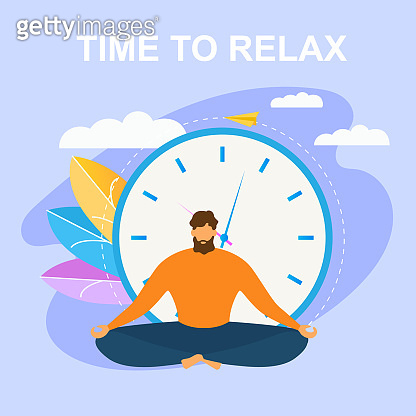 Cartoon Man Meditate in Lotus Position Time Relax