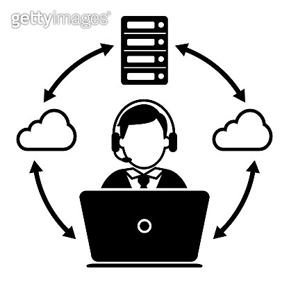 Cloud Support Manager or Call center worker vector icon