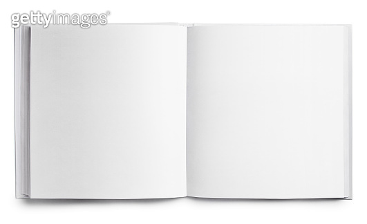 Open square book on white