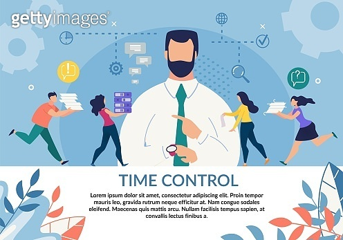 Time Control Importance Motivation Flat Poster